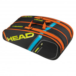 Head Core 9R Super Combi Squashtaske i sort (3 rum)